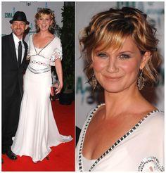 Jennifer Nettles in black and white trim Temperley London goddess gown.