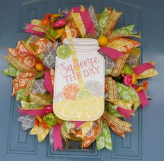 "Mason/Ball Jar Wooden Sign of Lemonade ""Squeeze The Day"" Deco Mesh Wreath, Front Door Wreath, Spring Wreath, Summer Wreath, Lemonade Wreath by TwoRoadsDivergedShop on Etsy"