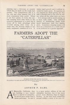 1914 Agriculture Article Farmers Adopt The Caterpillar Motor Tractor