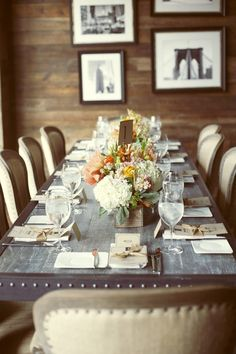 dining room, rustic elegance love the size of this table....