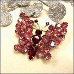 Butterfly Pin Vintage 1950s Delizza Elster Juliana Pink Crystal Brooch