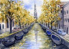 ACEO Original Miniature Watercolor Painting Amsterdam by Elena Mezhibovsky #Miniature