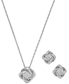 Diamond (1/10 ct. t.w.) Love Knot Jewelry Set in Sterling Silver - Jewelry & Watches - Macy's