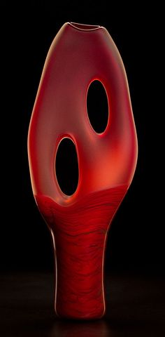 Trans Terra Ceia in red color by Bernard Katz Glass.