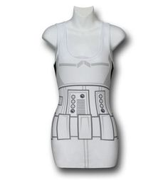 Why should Han and Luke have all the fun? With our Star Wars Juniors Stormtrooper Costume Tank Top, the fairer sex can now enjoy impersonating one of the Stormtroopers from the incredibly popular Star Wars film series as well! This bright white Star Wars tank top mimics the design of a Stormtrooper's armor (on the torso, at least) - just don't go diving down any garbage chutes, as we cannot guarantee you'll be able to get those kind of stains out of this 94% cotton, 6% spandex garment. Nor…