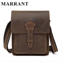 (53.88$)  Watch here  - MARRANT Men Bags Genuine Leather Small Business Bag Men's Crazy Horse Leather Portfolio Bag Man Crossbody Shoulder Handbag 1093