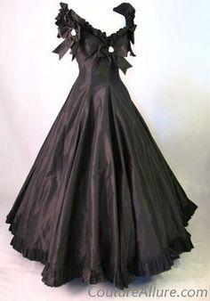 ca. 1970's Oscar de la Renta Black Silk Evening Dress with Bows & Pearls