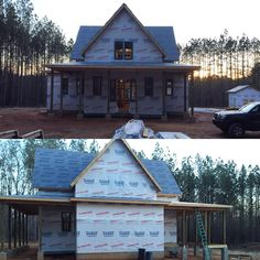 3.6.16 | Front windows in, back porch roof done, plumbing rough-ins done. #fourgables