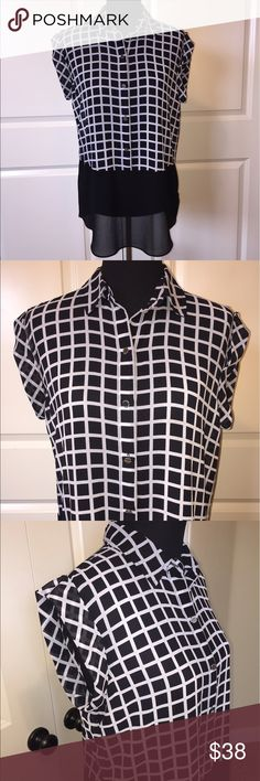 "Michael Kors Sheer Checkered Tunic Michael Kors sheer sleeveless checkered tunic. Pretty black and gray checkered button down blouse. Silver buttons accent the front. Bottom of top is solid black. 100% polyester. 29"" length. Size M. MICHAEL Michael Kors Tops Tunics"