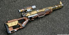 Steampunk Rifle - Outdoors Photo 2 by JohnsonArmsProps on DeviantArt Steampunk Weapons, Sci Fi Weapons, Steampunk Cosplay, Weapon Concept Art, Fantasy Weapons, Weapons Guns, Steampunk Outfits, Rifles, Airsoft
