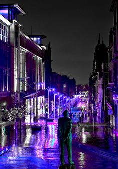 buchannan street, glasgow city centre, night view, long exposure, reflections, city lights by abbozzo on Flickr.