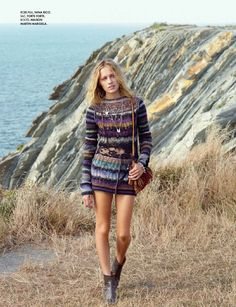 Zippora Seven Takes to the Beach in Autumn Knitwear for Elle France September 2012