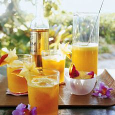 Pineapple and Mango Rum Cocktails - Martha Stewart Recipes. I love mango, pineapple, and rum. Rum Cocktails, Rum Cocktail Recipes, Drinks Alcohol Recipes, Cocktail Drinks, Alcoholic Drinks, Mango Cocktail, Drink Recipes, Cocktail Ideas, Coctails Recipes