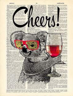 CODE/231 Illustration, Cheers Koala with glasses and wine ----------------------------------------------------------------------------------- BUY 2,
