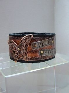 Hope Eternal Copper and Leather Cuff on Etsy, $69.00