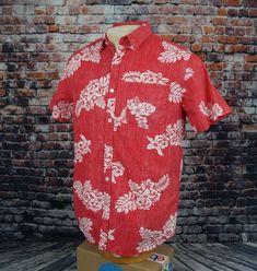 03b791f6393 Denim  amp  Flower Slim Fit Shirt Reverse Print Hawaiian Red Floral Mens M  Medium