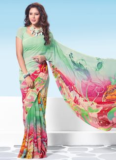This season your look gets better definition with just a little attention to detail. Look stunningly beautiful in this multi colour georgette casual saree. Beautified and stylized with print work to g...