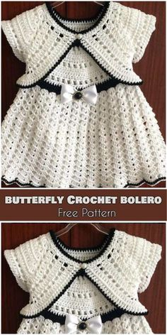 Butterfly Crochet Bolero for Babies and Kids [Free Pattern] - Babykleidung Baby Girl Crochet, Crochet Baby Clothes, Crochet For Kids, Crochet Hats, Crochet Dresses, Crochet Shrugs, Crochet Dress Girl, Booties Crochet, Crochet Sweaters