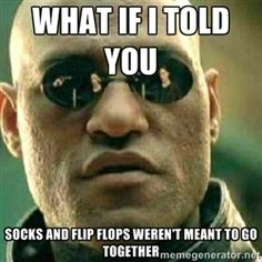 socks and flip flops