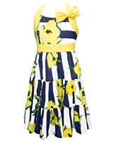 Jayne Copeland Girls Dress, Girls Floral Striped Dress