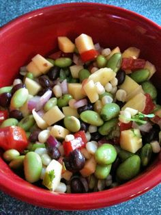 Edamame Salad recipe | BigOven I had something like this but the dressing was made with red wine vinegar, grapeseed oil, sugar and salt. So fresh.  Add shredded chicken to make it a complete meal.  Had an even better version with sundried tomatoes and the dressing was basil oil.