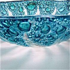 idea - use bubble powder, 3 layers glass, slump. Blue Bubble Glass Bowl