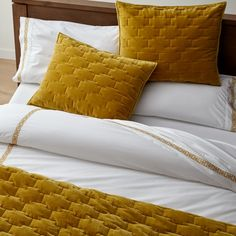 Sale ends soon. Shop Lior Organic Embroidered Mustard Yellow Embroidered King Pillowcases, Set of Mustard yellow embroidery edges white sheets in an ornate border, bringing a pop of color to the bedroom. Full Duvet Cover, White Duvet Covers, Bed Duvet Covers, Mustard Yellow Bedrooms, Yellow Duvet, Full Size Comforter Sets, Bed Sets, Mustard Bedding, Cheap Bed Sheets