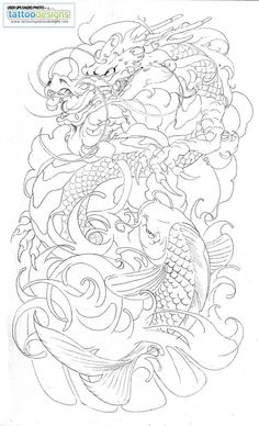 Dragon Koi Half Sleeve Tattoo By Brado Umg Tattoo Design.love good tatto work showing koi transformation to dragon-koi! Koi Dragon Tattoo, Dragon Sleeve Tattoos, Koi Fish Tattoo, Dragon Tattoo Designs, Koi Tattoo Sleeve, Lotus Tattoo, Japanese Tattoo Art, Japanese Tattoo Designs, Japanese Sleeve Tattoos