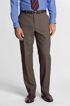 Men's Plain Front Tailored Fit Year'rounder Trousers from Lands' End 36x32 $79
