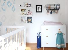 Project Nursery - Lolly Dresser and Book Gallery Wall in Navy and Pink Nursery - Project Nursery