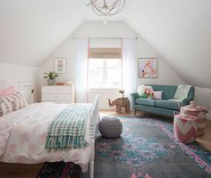 Charming girls bedroom boasts a white Jenny Lind Bed dressed in pink elephant bedding accented with a gray and green fringe throw blanket and placed on a blue and pink rug behind a gray knitted pouf. Jenny Lind Bed, Elephant Bedding, Pink Elephant, How To Dress A Bed, Teenage Girl Bedrooms, Teenage Room, Green Girls Bedrooms, Girls Bedroom Pink, Girls Bedroom Turquoise