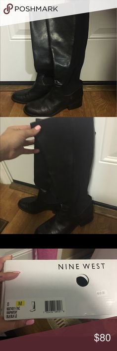 NWT Nine West Black Riding Boots! These adorable leather boots are brand-new with the box! They have never been worn and are a size 8 from Nine West! They fit great because the back has a fabric that can expand on your calf! Nine West Shoes