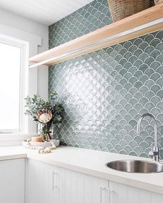 Fish Scale Tiles - Shop Now, Pay Later with Afterpay - Tile Cloud Fish Scale Tiles – Shop Now, Pay Later with Afterpay – Tile Cloud Modern Laundry Rooms, Laundry In Bathroom, Bathroom Renos, Remodled Bathrooms, Bathroom Scales, Master Bathroom, Bathroom Ideas, Laundry Room Inspiration, Bad Inspiration