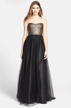 86fff5615 Aidan Mattox Strapless Fitted Bodice Mesh Gown available at #Nordstrom Gold  And Black Dress,
