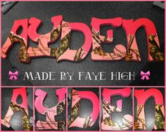 The cute mossy oak camo & pink letters I made for aydens bedroom wall (: decorations @FayeHigh @gaterrr_
