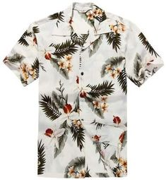 Men's Clothing, Shirts, Casual Button-Down Shirts, Men's Hawaiian Shirt Aloha Shirt XL Orchid Cream - Button-Down Shirts