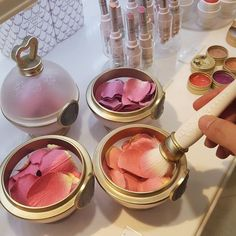 """""""These are Les Merveilleuses Ladurée rose petal blushes and they have blush powder coated on rose petals. Makeup Goals, Makeup Inspo, Makeup Inspiration, Makeup Tips, Makeup Products, Makeup Brands, Style Inspiration, Beauty Make-up, Beauty Hacks"""