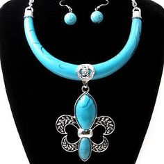 Chunky Turquiose Fleur De Lis Silver Necklace And Earring Set 50% Off at The JewelryBox