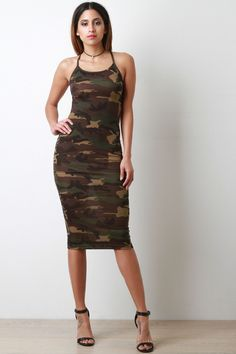 Camouflage Sleeveless Midi Dress