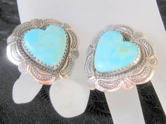 Sterling and Turquoise Heart Shaped Earrings by AntiquesduJour, $49.00
