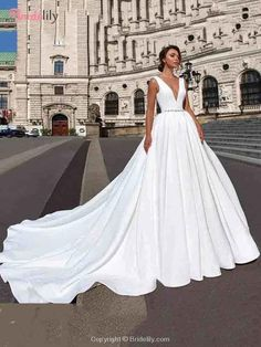 Satin Wedding Dresses Illusion V-neck Simple Crystal Belt Ball Gown Chapel Train Bridal Gowns Vestid Mermaid Wedding Dress With Sleeves, Tulle Skirt Wedding Dress, Lace Wedding Dress With Sleeves, Most Expensive Wedding Dress, Affordable Wedding Dresses, Modest Wedding, Maternity Wedding, Bride Gowns, Wedding Gowns