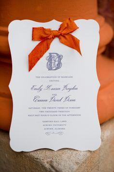 elegant wedding invitations http://www.weddingchicks.com/2014/02/19/auburn-university-wedding-by-the-studio-b-photography/