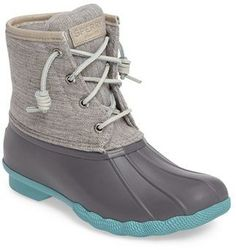 Women's Sperry 'Saltwater' Duck Boot -Not that I'll need these in Florida but they are cute! Love the grey and turquoise. Sock Shoes, Cute Shoes, Me Too Shoes, Duck Boots Outfit, Sperry Saltwater Duck Boots, Sperry Duck Boots, Cute Winter Boots, Spring Boots, Shopping