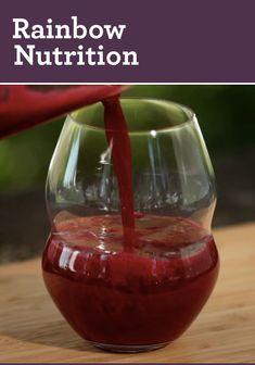 Rainbow Nutrition Juice Recipe: Healthy juicing with strawberry, orange, pineapple, wheatgrass, blueberries, beet & grapefruit