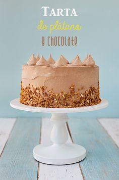 Postreadicción galletas decoradas, cupcakes y pops: Tarta de plátano y chocolate