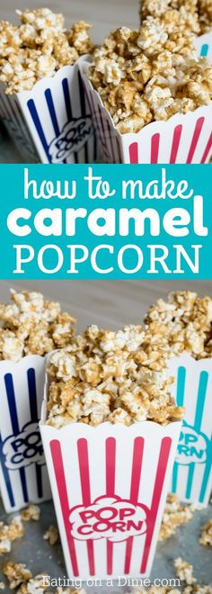 Learn how to make caramel popcorn at home with only a few ingredients. Once you know how to make homemade caramel popcorn recipe, you will make it all the time. It's simple and easy. The homemade caramel is amazing! #eatingonadime #caramelpopcorn #popcorn #dessertpopcorn #partyfood