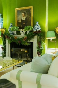 I think we've established that I can never ever see enough of any of Tory Burch's homes, but her Upper East Side living room at Christmastime is especially delightful. Chinoiserie, Christmas Mantels, Decor, Christmas, Pantone Greenery, Green Christmas, Holiday, Green Interiors, Home Decor