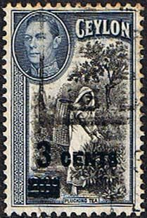 Ceylon 1940 King George VI SG 399 Surcharged Fine Used SG 399 Scott 291 Other Ceylon Stamps HERE