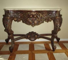 HAND CARVED AND HAND PAINTED LOUIS XV FRENCH STYLE CONSOLE TABLE