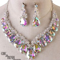HIGH END AURORA BOREALIS CHUNKY GLASS CRYSTAL FORMAL NECKLACE JEWELRY SET CHIC #Unbranded